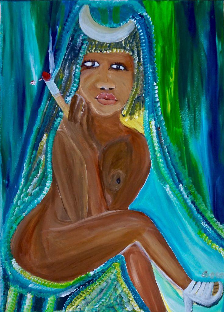 Rasta Woman, acrylic on canvas, 50 x 70 cm, € 700,-