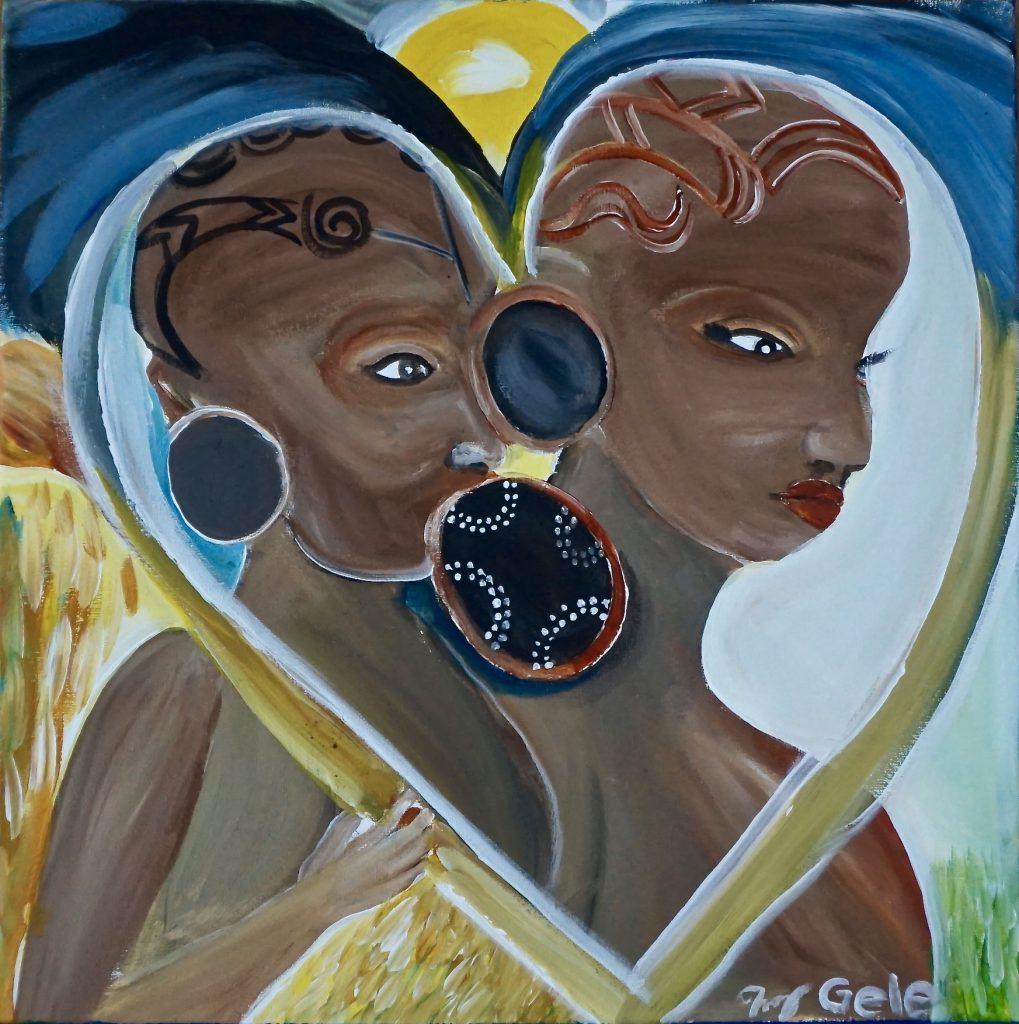Mursi Girls, acrylic on canvas, 40 x 40 cm, € 322,-