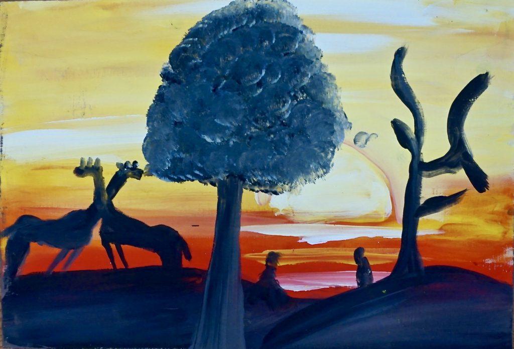 Giraf with Tree, acrylic on waste wood, 25 x 37 cm, € 200,-