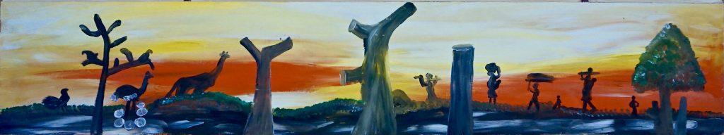 Sunset, acrylic on wastewood, 25 x 130 cm, € 400,-