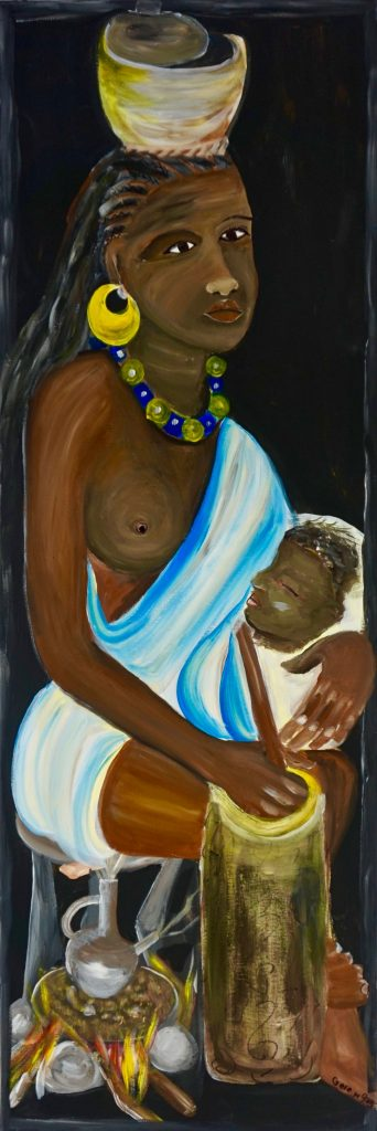 African girl with baby, acrylic on canvas, 40 x 120 cm, € 300,-