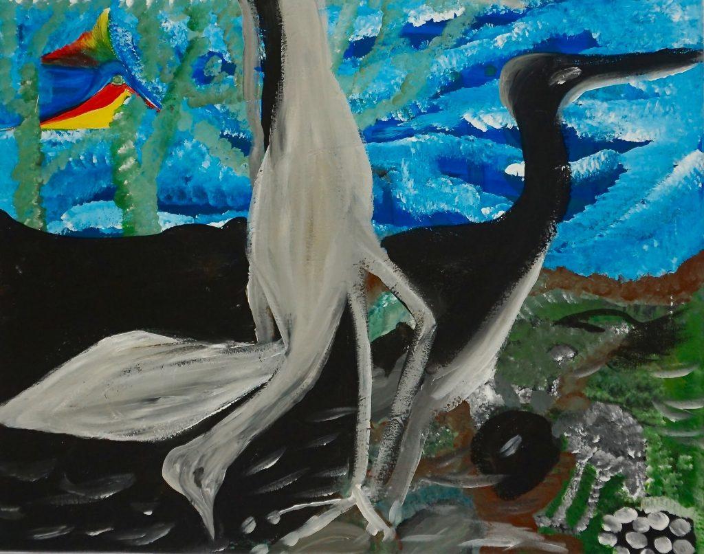 Birds, acrylic on canvas, 40 x 50 cm, € 390,-