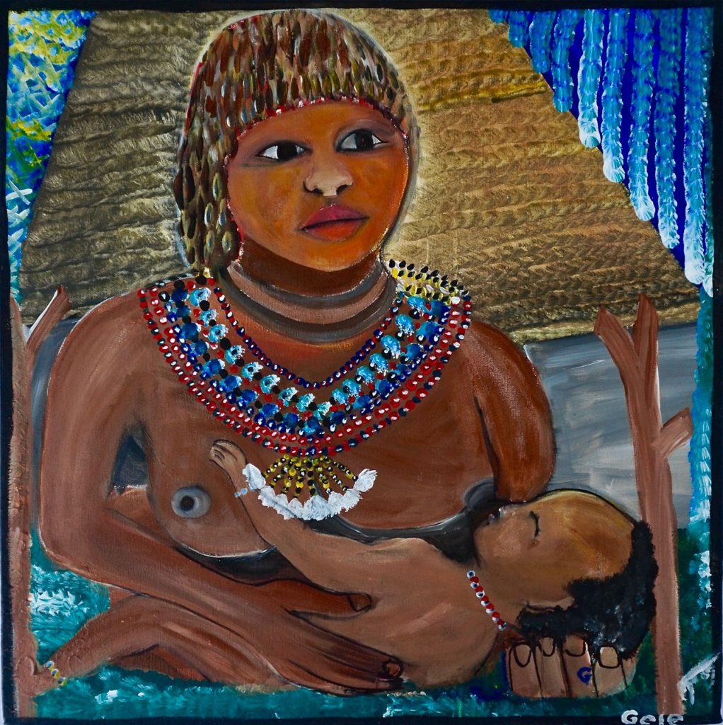 Hamar Woman with child, acrylic on canvas, 50 x 50 cm, € 650,-