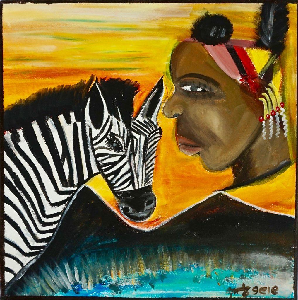 Hamarman with Zebra, acrylic on canvas, 40 x 40 cm, € 322,-