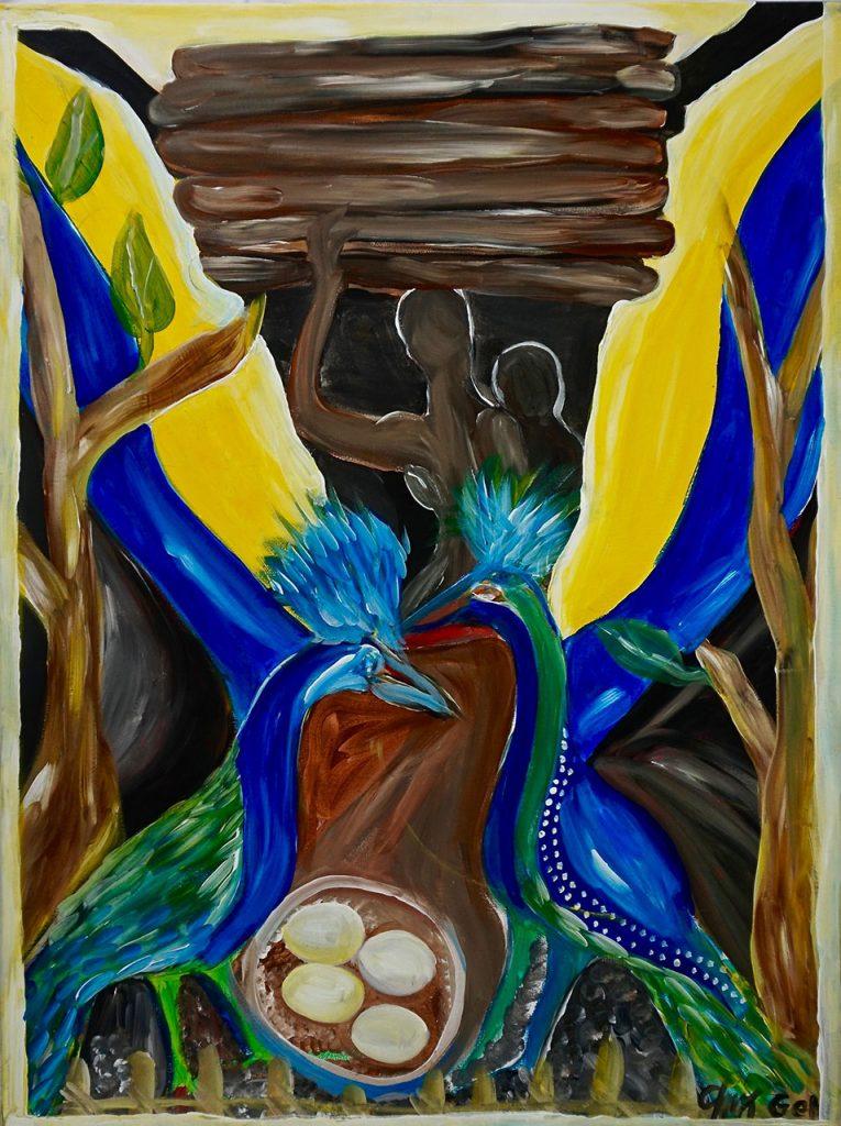 Bird with eggs, acrylic on canvas, 60 x 80 cm, € 700,-