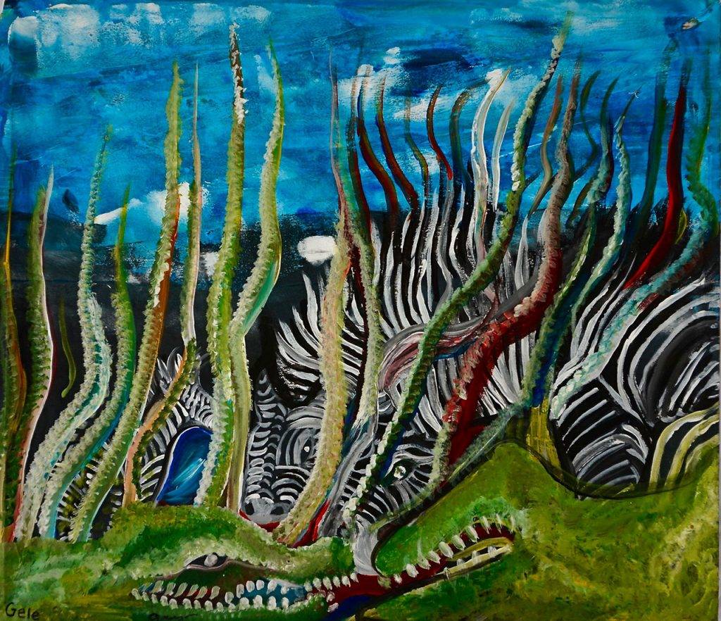 Zebra's at Waterplace, acrylic on canvas, 49 x 57 cm, € 660,-