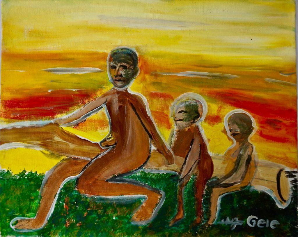 Children playin, acrylic on canvas, 24 x 30 cm, € 200,-