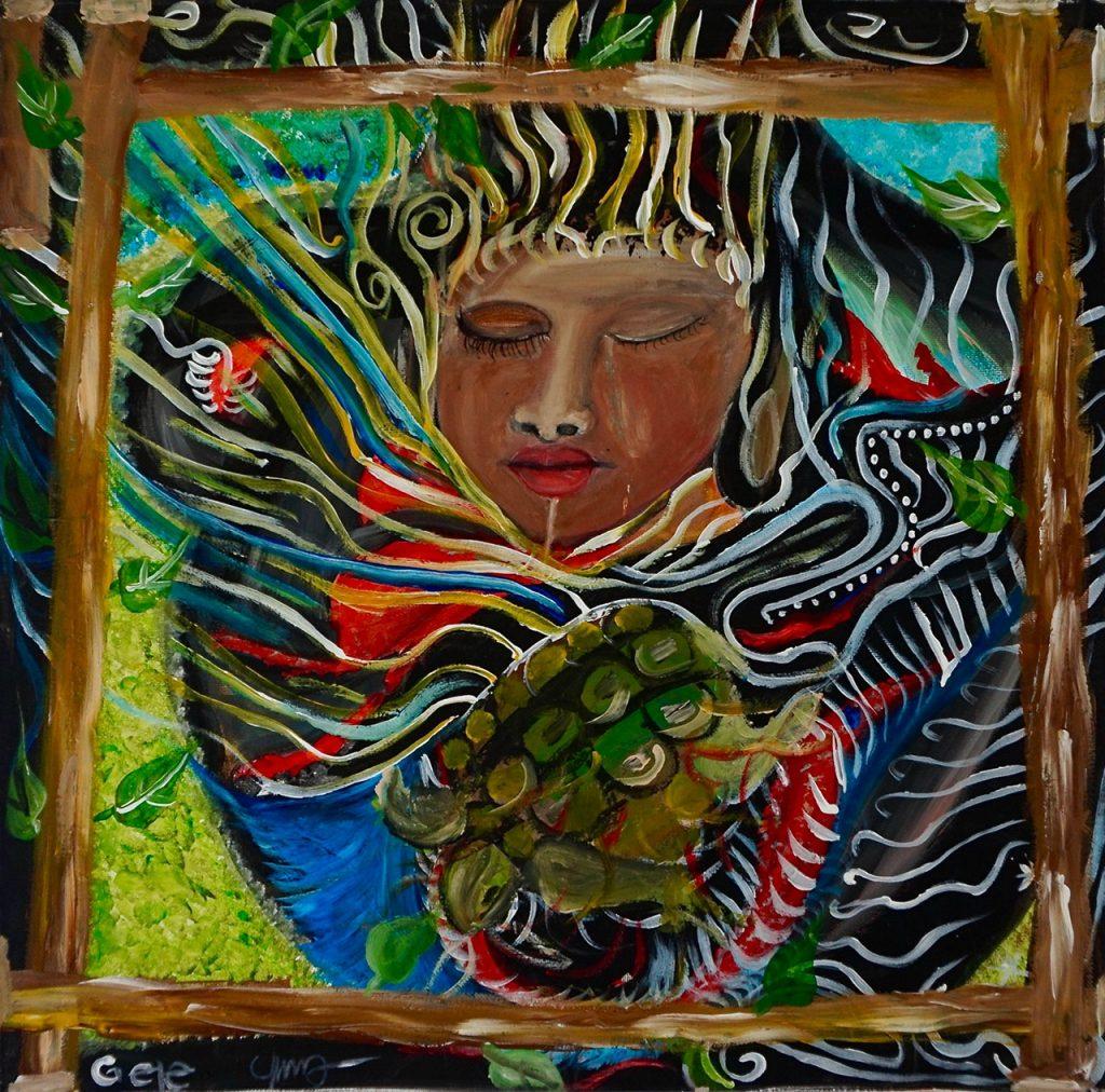 Karo Woman, acrylic on canvas, 50 x 50 cm, € 700,-