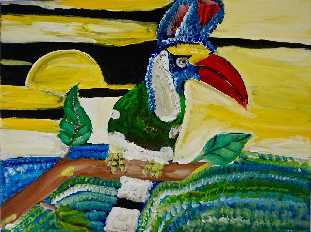 Bird with sunset, acrylic on canvas, 30 x 40 cm, € 320,-