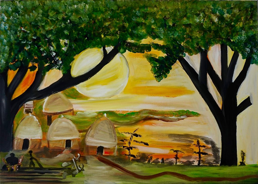 Tree with village, acrylic on canvas, 50 x 70 cm, € 750,-