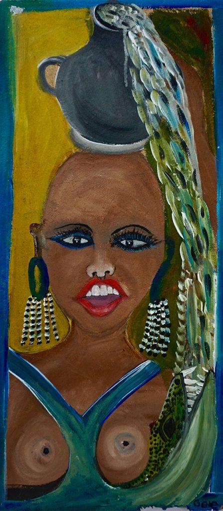 African Woman Betty, acrylic on wastewood (softboard), 30 x 71 cm, € 322,-