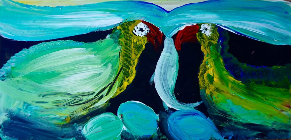 Colo Birds eating Fish, acrylic on waste wood, 16 x 33 cm, € 150,-