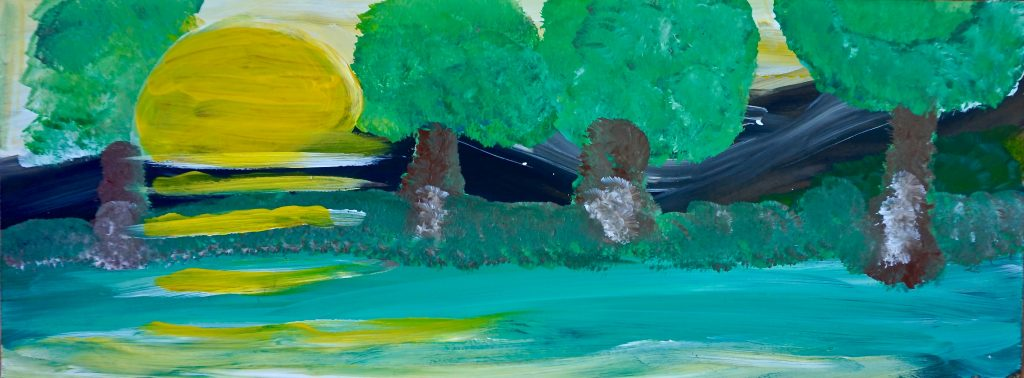 Trees and sunset, acrylic on canvas, 17 x 45 cm, € 120,-