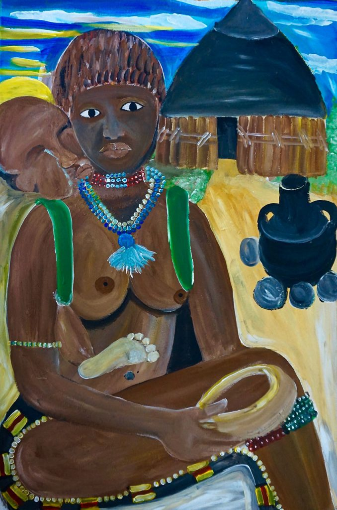Hamarwoman with child, acrylic on canvas, 60 x 90 cm, € 1000,-